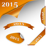 New Year orange card web element
