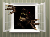 Monster in open window
