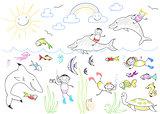 Happy children and sea animals