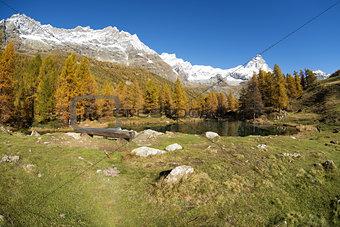 Blue lake and Mount Cervino, Valtournenche