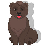 Illustration of sitting bear on white background