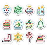 Christmas icons with stroke - Xmas tree, angel, snowflake