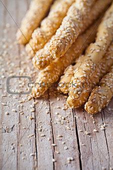 bread sticks grissini with sesame seeds