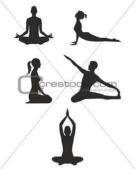 Black yoga silhouettes