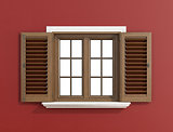Wooden window on red wall