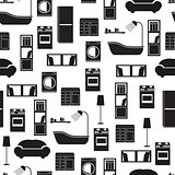 Home interior furniture vector seamless pattern