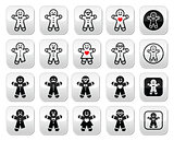 Gingerbread man Christmas buttons set
