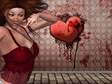 3d woman and heart on the wall