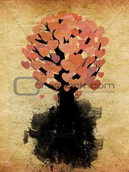 Abstract hearts tree