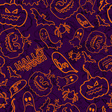 Halloween themed seamless vector background