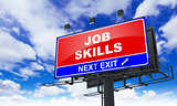 Job Skills Inscription on Red Billboard.