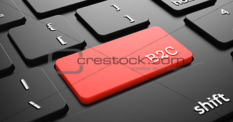 B2C on Red Keyboard Button.