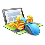 Computer mouse pointing coins in direction of tablet