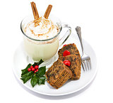 Fruitcake and Eggnog Isolated