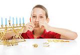 Jewish Child on Hanukkah