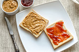 Sandwiches with peanut butter and strawberry jelly