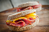 Sandwiches with italian salami and roasted pepper
