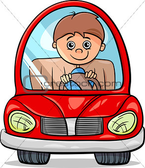 boy in car cartoon illustration