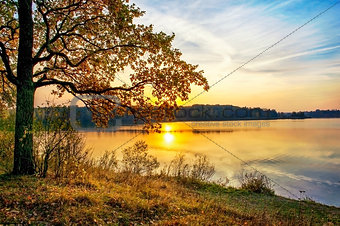 Autumn sunset on the lake