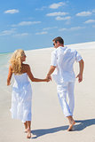 Man Woman Couple Holding Hands Running Beach