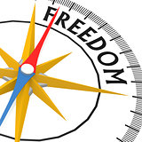 Compass with freedom word