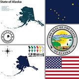 Map of state Alaska, USA