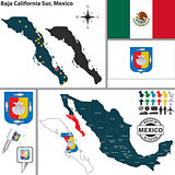 Map of Baja California Sur, Mexico