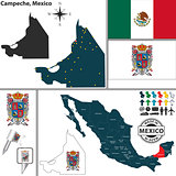 Map of Campeche, Mexico