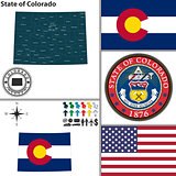 Map of state Colorado, USA