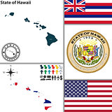 Map of state Hawaii, USA
