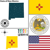 Map of state New Mexico, USA