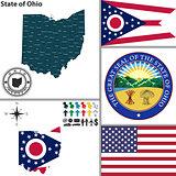 Map of state Ohio, USA