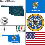 Map of state Oklahoma, USA