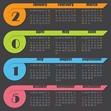 2015 calendar design with ribbons