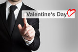 businessman pushing flat button valentines day