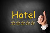hand thumbs up hotel golden stars