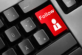dark grey keyboard red button follow