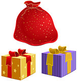 Red bag with gifts and the box with ribbon
