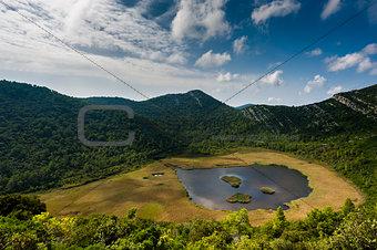 Small lake with swamp on Mljet island - Croatia