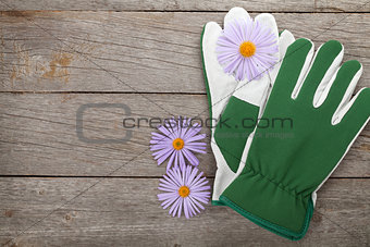Pair of gloves and flowers