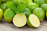 Fresh ripe limes with mint