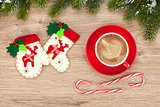 Christmas decor and coffee cup