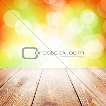 Autumn nature background with wooden table