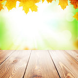 Autumn nature background with maple leaves and wooden table