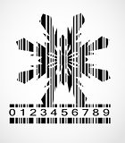Barcode Snowflake  Image Vector Illustration
