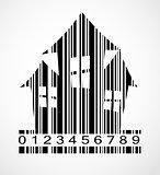 Barcode Halloween House  Image Vector Illustration