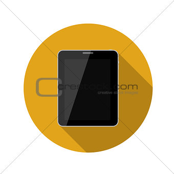 Flat Design Concept Tablet Vector Illustration With Long Shadow.
