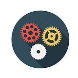 Flat Design Concept Gears Vector Illustration With Long Shadow.