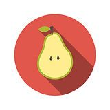 Flat Design Concept Pear Vector Illustration With Long Shadow.