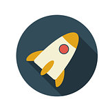Flat Design Concept Rocket Vector Illustration With Long Shadow.